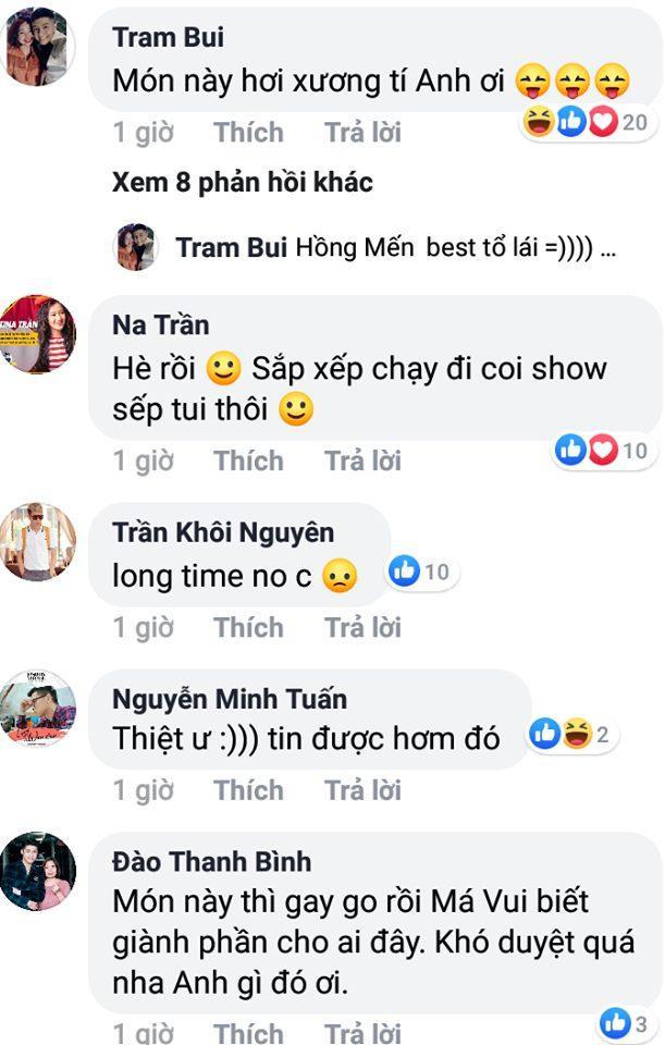 Các fans háo hức bình luận dưới dòng trạng thái của thần tượng