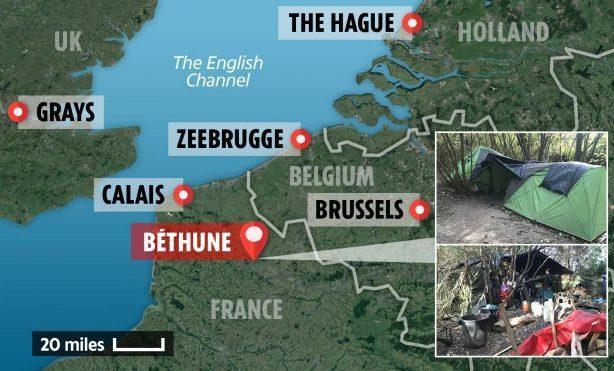 Hành trình vượt biên từ Pháp sang Anh của nhóm người di cư. Ảnh: The Sun