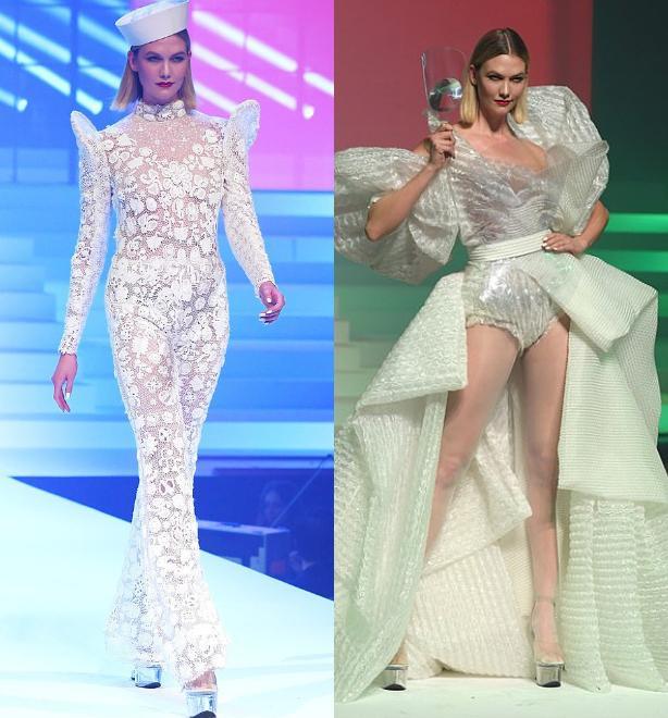 Karlie Kloss lâu ngày mới tái xuất trên đường băng, cô diện thiết kế bodysuit ren xuyên thấu cùng kiểu váy bạc lộng lẫy