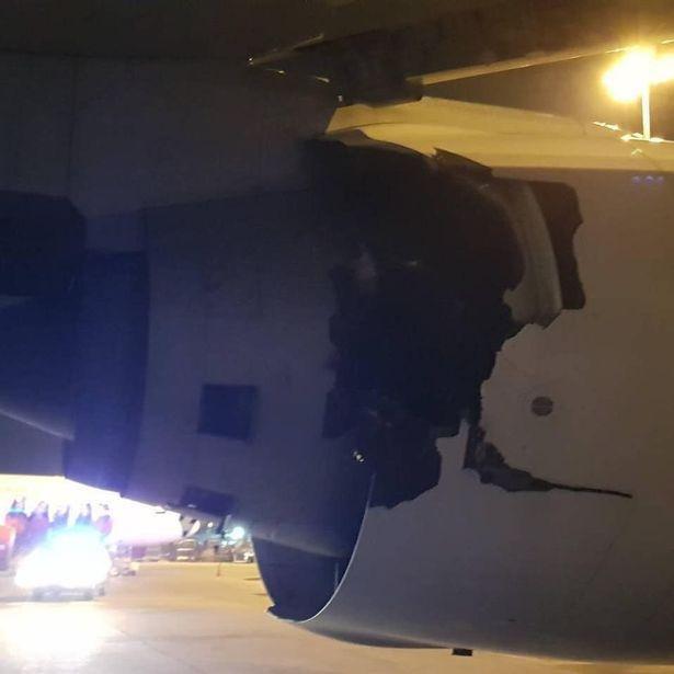 Vết nứt lớn ở vỏ động cơ máy bay Thai Airways.