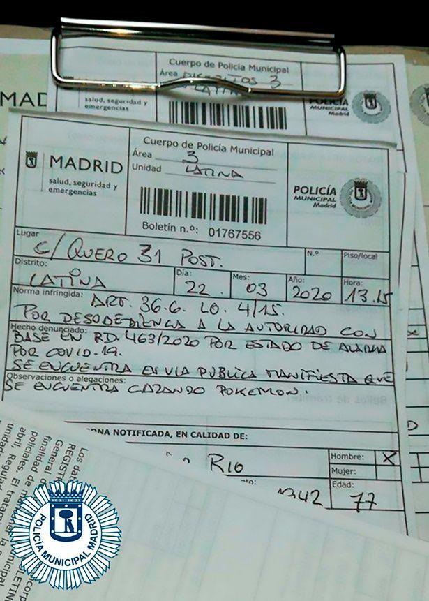 Biên bản phạt của cảnh sát Madrid.