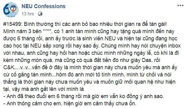 Câu chuyện đang khiến dân tình bức xúc trên NEU Confessions.