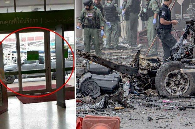 Hình ảnh chiếc xe đậu bên ngoài siêu thị Big C trước khi phát nổ.