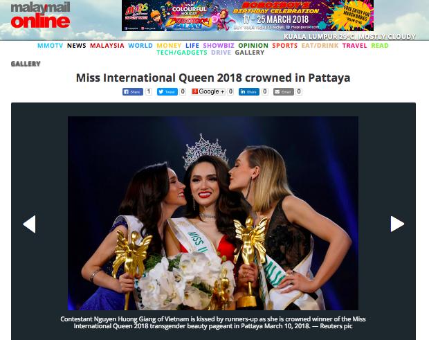 Tờ MalayMailOnline của Malaysia đưa tin về sự kiện Hương Giang giành vương miện trong cuộc thi Hoa hậu chuyển giới Quốc tế 2018.
