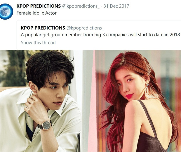 Cuối năm 2017, tài khoản này đã đưa ra dự đoán rằng một idol nữ nổi tiếng trong Big3 sẽ hẹn hò vào năm 2018. Chỉ 3 tháng sau, Suzy(thuộc công ty JYP) và nam diễn viên Lee Dong Wook xác nhận hẹn hò.