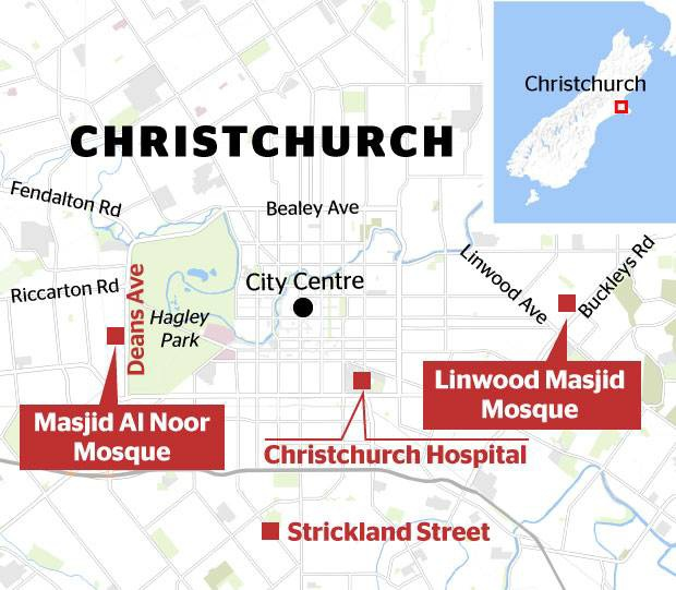 Hai vụ xả súng xảy ra ở hai nhà thờ riêng rẽ của thành phố Christchurch. Đồ họa:NZH