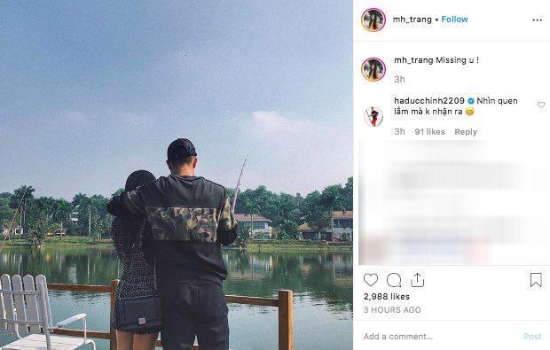 Hình ảnh Hà Trang đăng tải trên trang cá nhân và bình luận hài hước của Hà Đức Chinh
