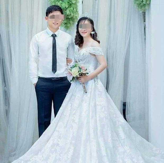 Hình ảnh vợ chồng chị T. hạnh phúc trong ngày cưới. (Ảnh: Helino).