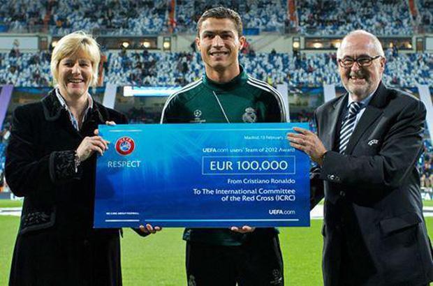 Ronaldo dùng tiền thưởng làm từ thiện.