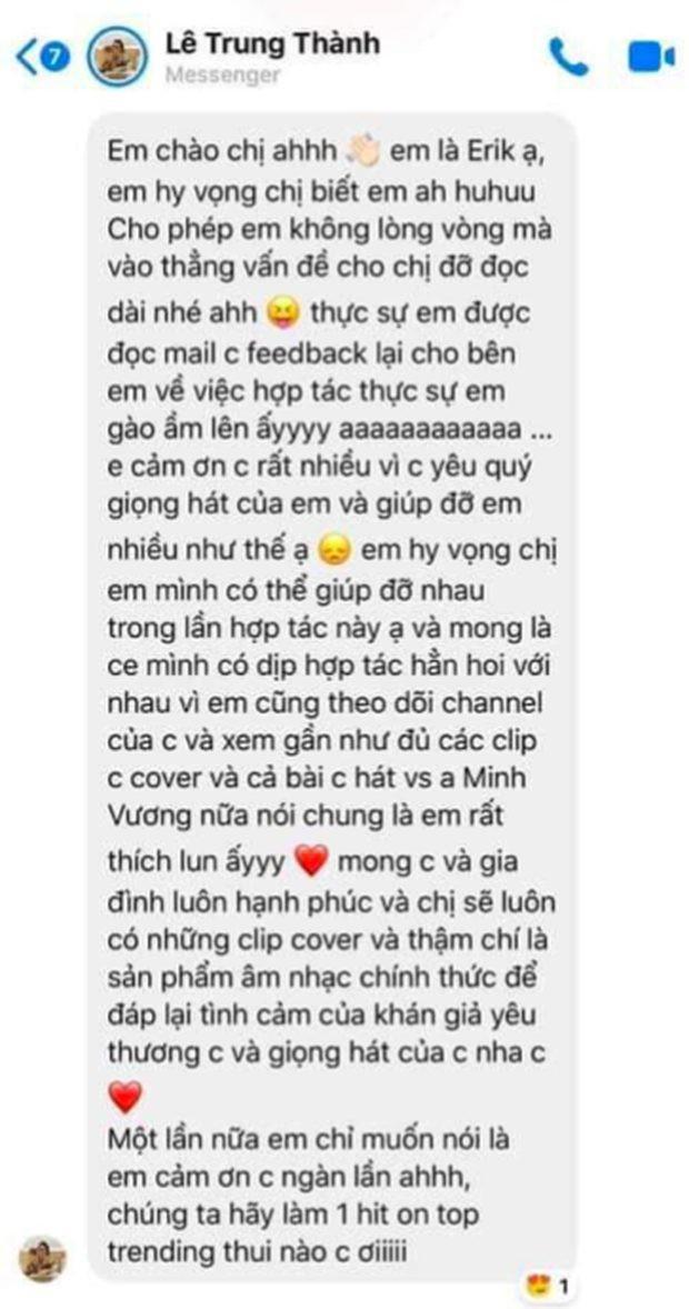 Quản lý Hương Ly tung tin nhắn nhờ vả của Erik.