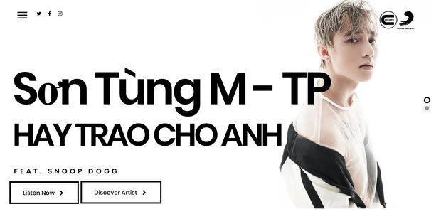 Hình ảnh Sơn Tùng M-TP xuất hiện trên trang chủ của hãng thu âm Concore Entertainment.
