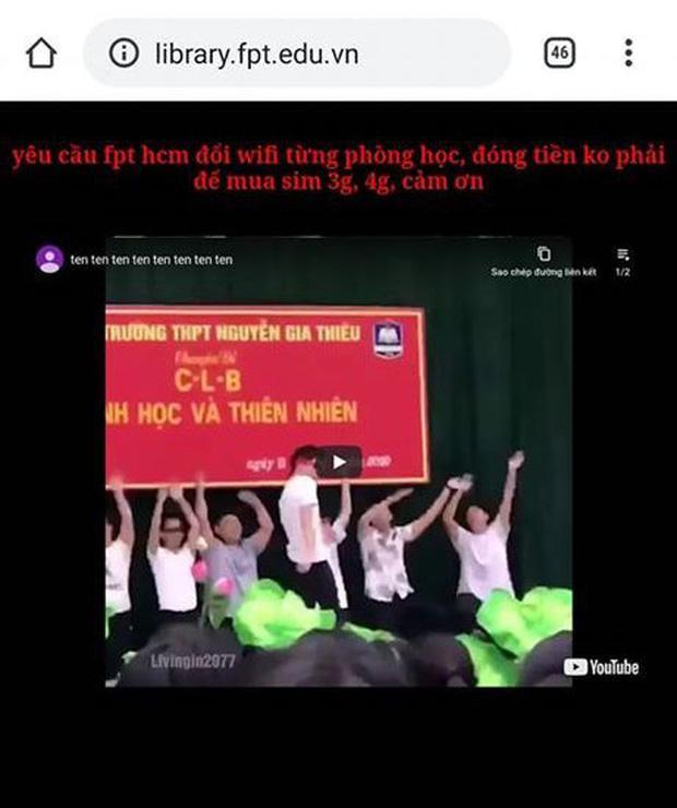 """Nội dung mà """"hacker"""" để lại trên website trường FPT gây chú ý. (Ảnh: Nguyễn Văn Trường/J2Team Community)"""