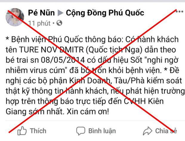 Tài khoản đăng thông tin sai sự thật ở Phú Quốc. Ảnh: báo Người Lao Động