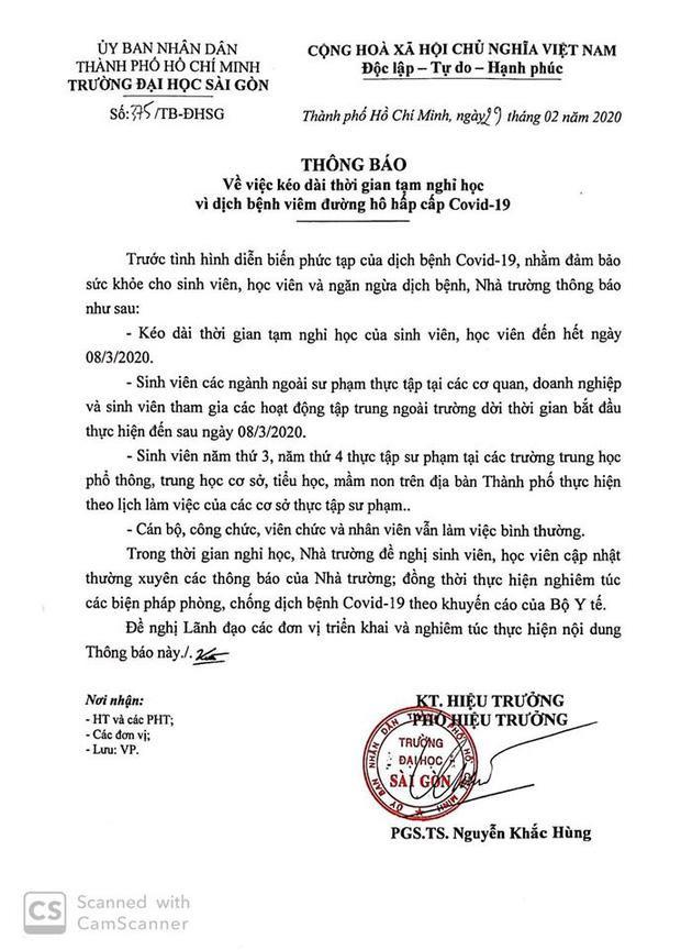 Thông báo nghỉ học của ĐH Sài Gòn