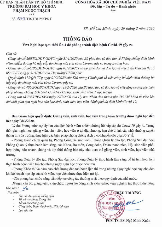 Thông báo nghỉ học của ĐH Y khoa Phạm Ngọc Thạch