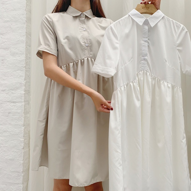 Hãy thử nghiệm những kiểu váy suông có dún eo, phần phom xoè phía dưới mang đến vẻ ngọt ngào, nữ tính.