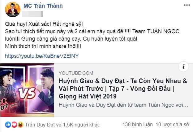 Trấn Thành hào hứng với tiết mục Đối đầu của team Tuấn Ngọc tại The Voice 2019.