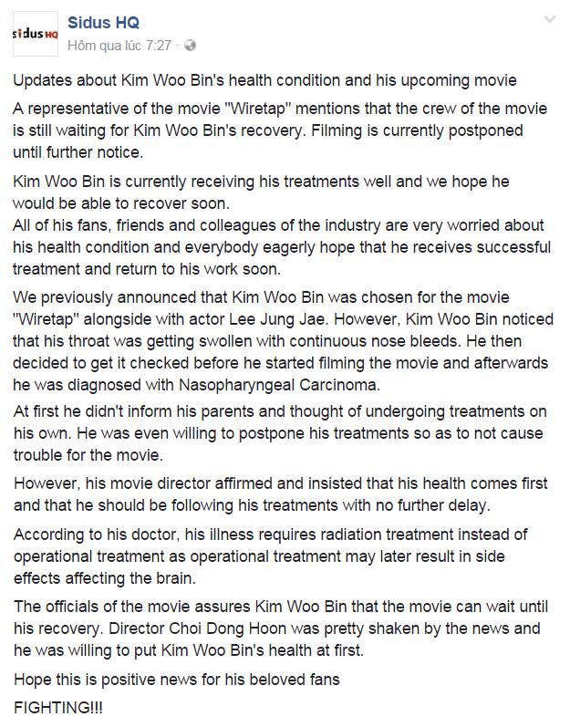 Sidus HQđã đăng tải lên mạng xã hội những lời chia sẻ về tình hình hiện tại củaKim Woo Bin.