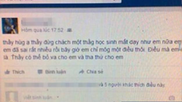 Trang facebook xin lỗi thầy Hùng của Danh Thái.