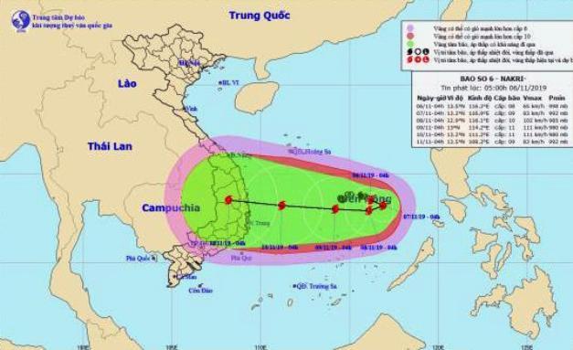 Áp thấp nhiệt đới trên Biển Đông mạnh lên thành bão số 6, hướng di chuyển phức tạp. Ảnh: Trung tâm Khí tượng thủy văn TW