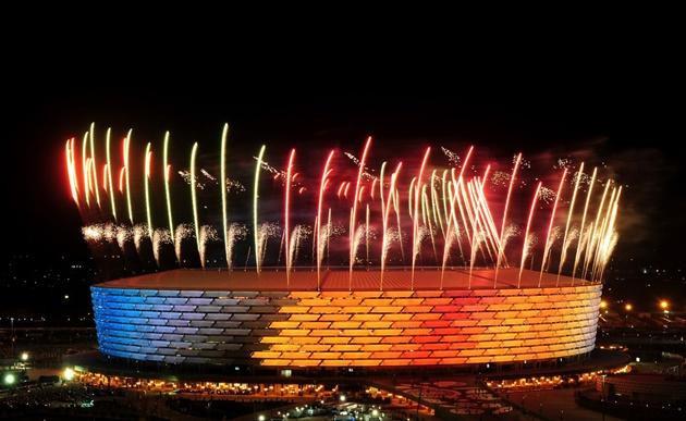 Quang cảnh lung linh của sân Olympic Stadium tại thành phố Baku, Azerbaijan.