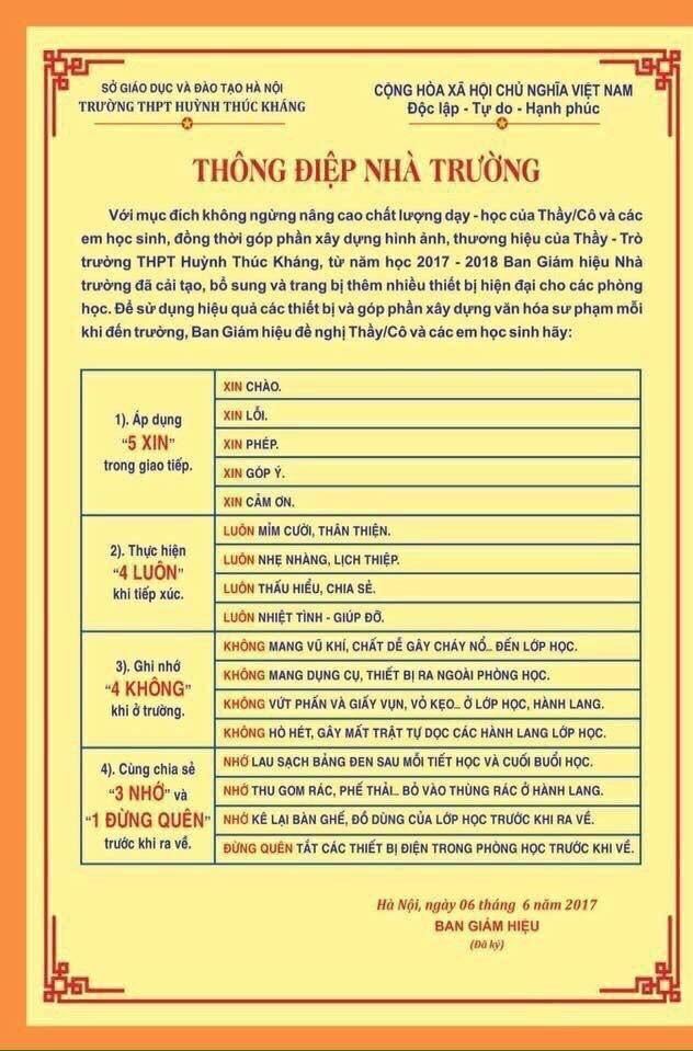 """Thông điệp """"5 xin"""", """"4 luôn"""" của Trường THPT Huỳnh Thúc Kháng (Hà Nội)."""