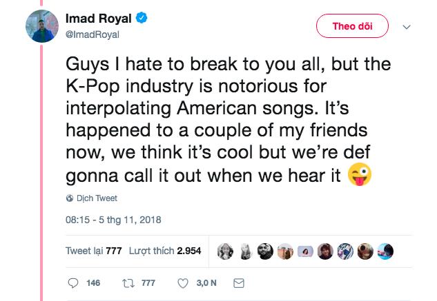 """Imad Royal đăng dòng trạng thái bàn về vấn đề """"xào nấu"""" lại các bài hát Mỹ của K-Pop"""