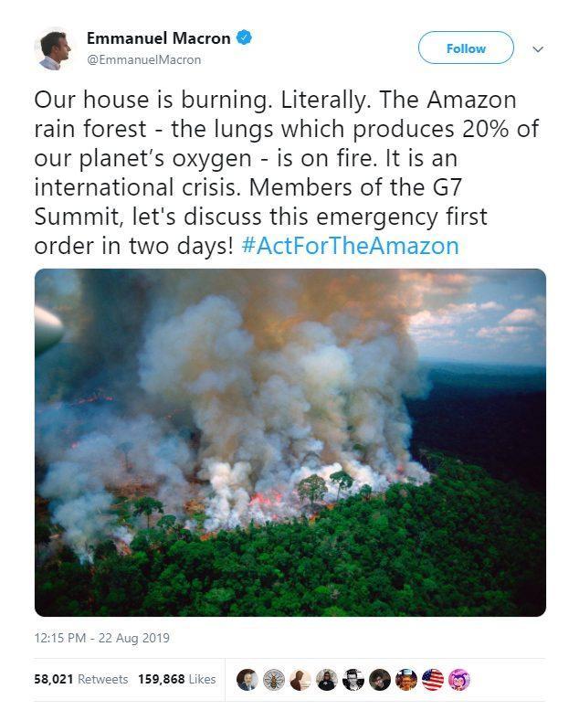 Tổng thống PhápEmmanuel Macron cũng lấy ảnh từ chục năm về trước để nói về vụ cháy rừng Amazon.