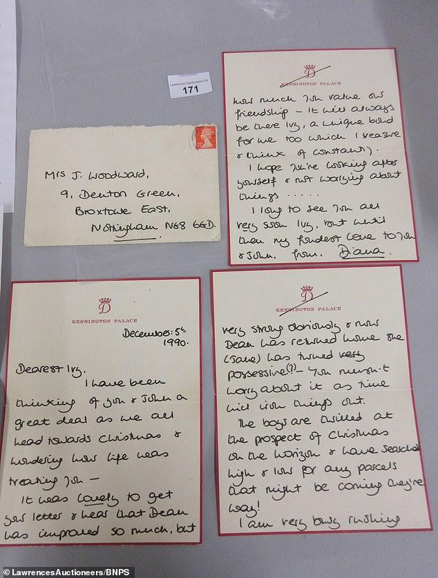 Bức thư Diana gửi bà Ivy Woodward - một người bạn mà cô đã kết thân khi đến thăm Thái tử Charles nằm viện vào năm 1990.