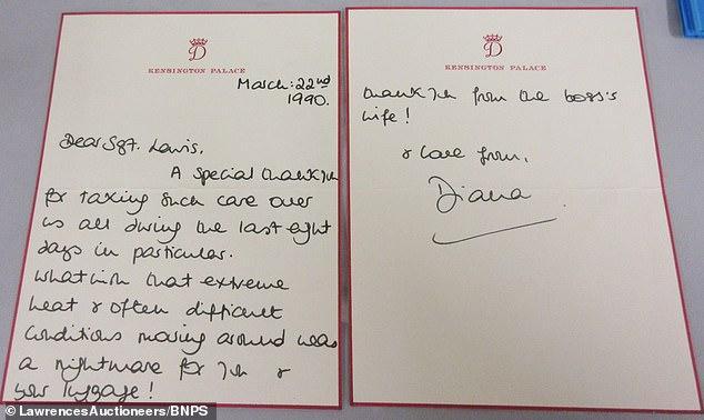 Bức thư Công nương Diana cảm ơn ông Sergeant Ronald Lewis - người vệ sỹ đã chăm sóc vợ chồng cô trong chuyến đi đến Lagos, Nigeria vào tháng 3/1990.