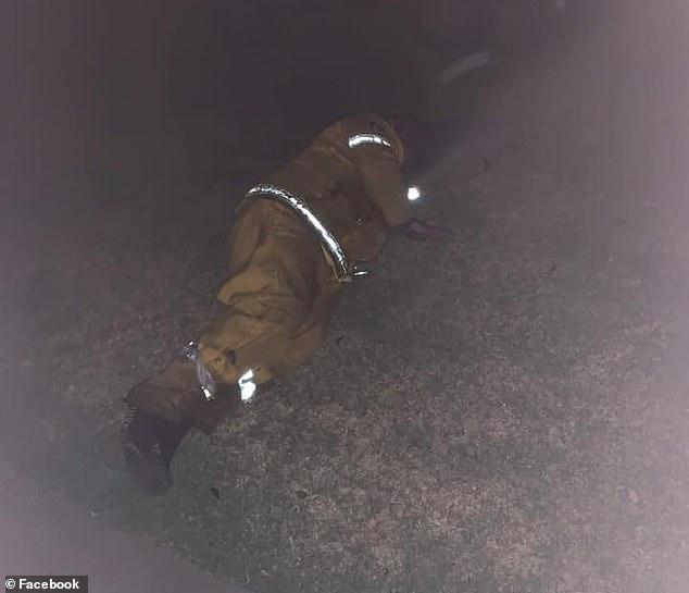 Bức ảnh cha của côJenna O'Keeffe ngủ gục trên bãi cỏ vì kiệt sức sau nhiều ngày nỗ lực đối phó cháy rừng.
