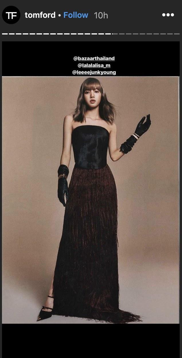 Hồi tháng 6, Tom Ford đã đăng tải hình của Lisa trên trang cá nhân khi cô nàng khoác trên người các trang phục đến từ hãng thời trang của Mỹ.