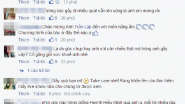 Cựu người mẫu Thúy Hạnh, MC Quang Minh xót xa với hình ảnh khác lạ của Trần Lập. Tuy nhiên, các đồng nghiệp thân thiết không quên ủng hộ tinh thần choanh.