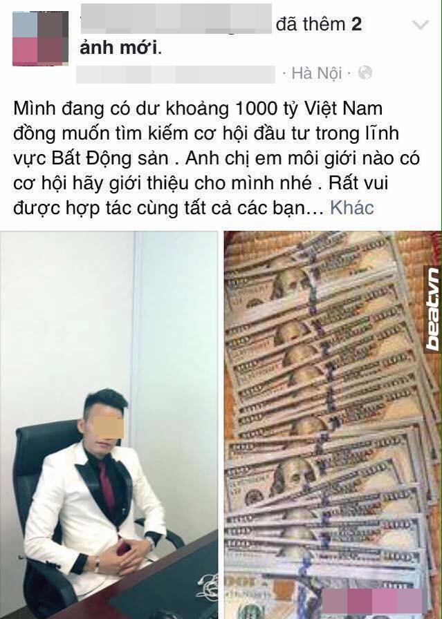 Linh từng khoe có 1.000 tỷ đồng trên trang facebook cá nhân. Nguồn: Beat.vn