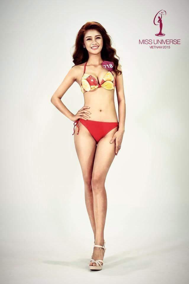 Hình ảnh Mỹ Duyên ở cuộc thi Hoa hậu Hoàn vũ 2015. Gương mặt, nụ cười không tươi tắn khiến cô phải sớm ra về.
