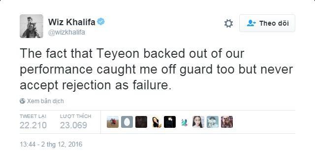 """""""Việc Taeyeon rút lui khỏi màn trình diễn chính tôi cũng bất ngờ nhưng đã không vì sự từ chối đó mà làm hỏng chuyện"""". Cuộc chiến bắt đầu từ đây. Khalifa: 1 - Taeyeon: 0."""