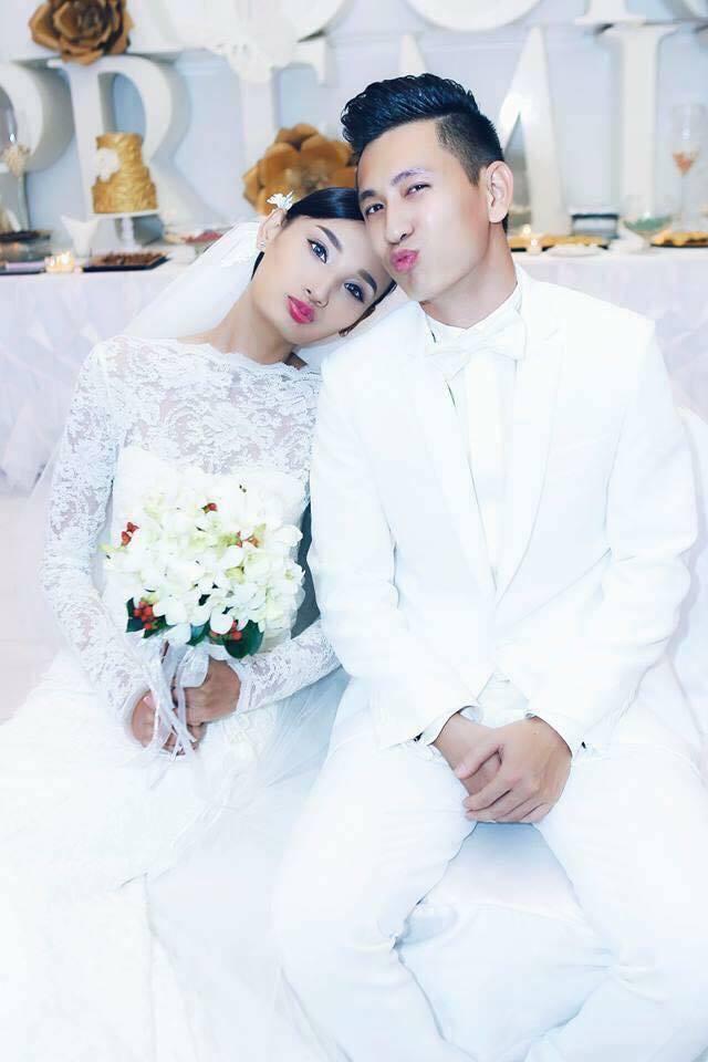 Đỗ An và Lê Thúy trong ngày cưới.