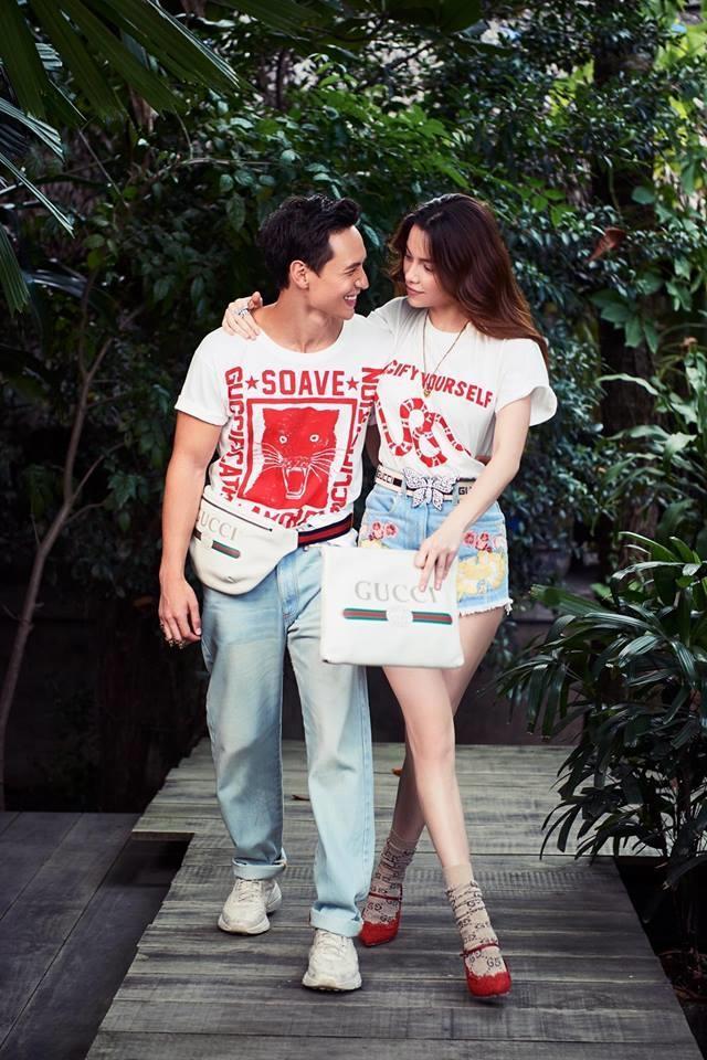 Chiếc áo thun mà Kỳ Duyên và Kim Lý đều đem lòng yêu thích đến từ thương hiệu Gucci. Đang được bán với giá khoảng 14 triệu đồng.