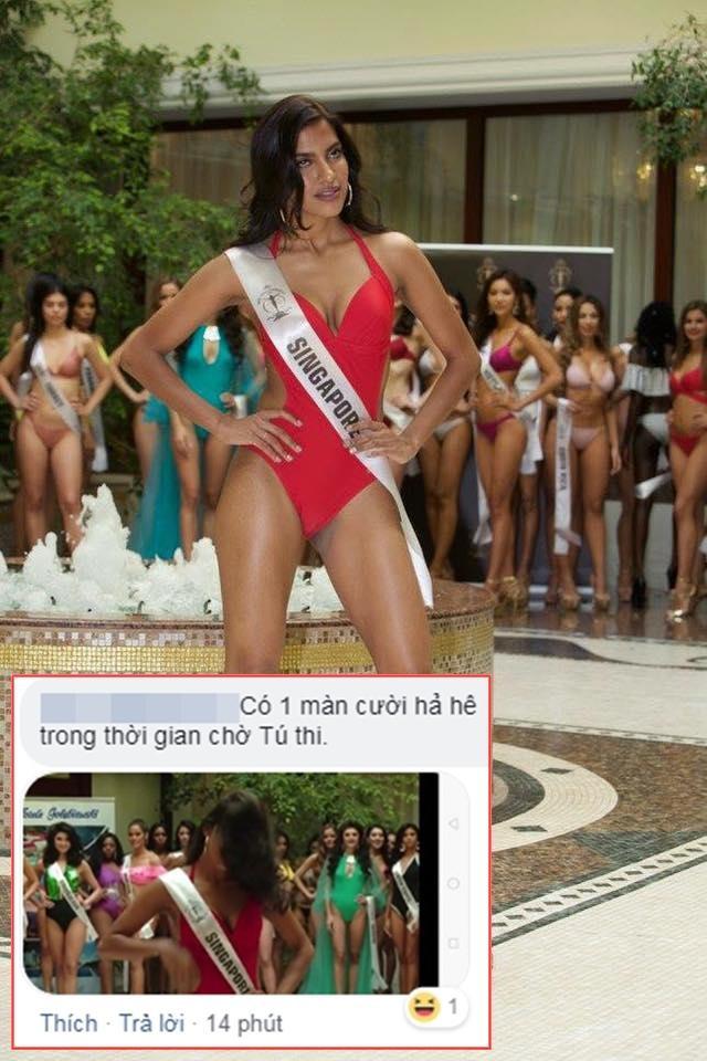Fan Việt cười hả hê vì màn hất tóc của Miss Supranational Singapore.