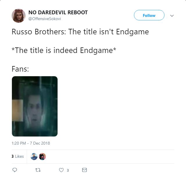 """Anh em nhà Russo: """"Tựa không phải Endgame nha mấy đứa""""."""