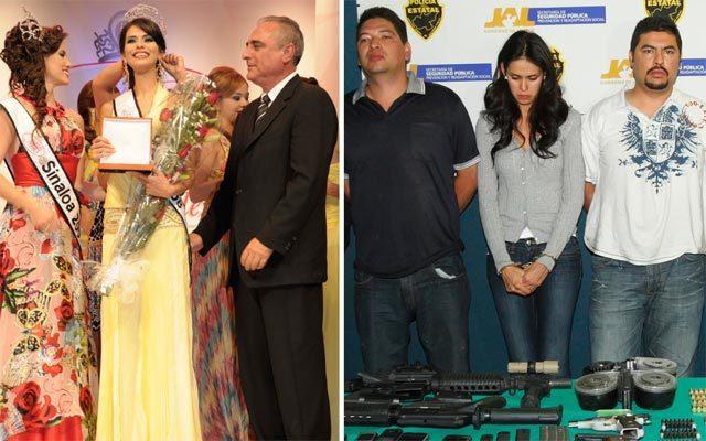 Laura Zuniga khi đăng quang hoa hậu (trái) và lúc bị cảnh sát Mexico bắt giữ. Ảnh: NYT
