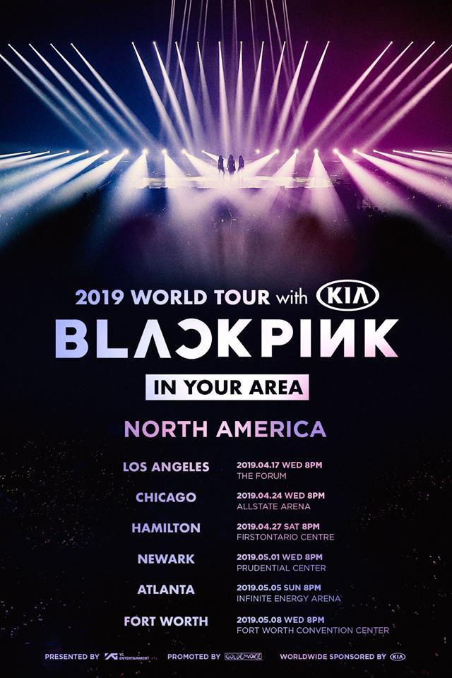 Thời gian và địa điểm các đêm diễn của BlackPink tại Bắc Mỹ.