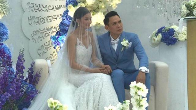 Jehza Huelar và ông xã trong đám cưới.