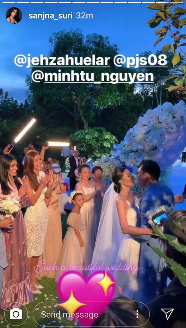 Minh Tú diện váy ren trắng thanh lịch trong sự kiện trọng đại của cô bạn Philippines.