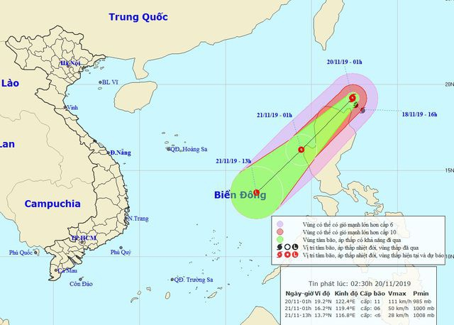 Bão Kalmaegi hướng vào Biển Đông, sức gió mạnh cấp 11, giật cấp 13. Ảnh:NCHMF