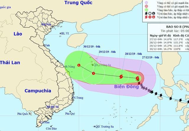 Vị trí và hướng di chuyển của bão số 8. Ảnh: NCHMF