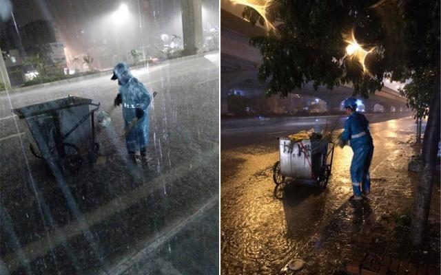 Những người lao công đội mưa làm việc trong đêm giao thừa. Ảnh Facebook Tuấn Phạm