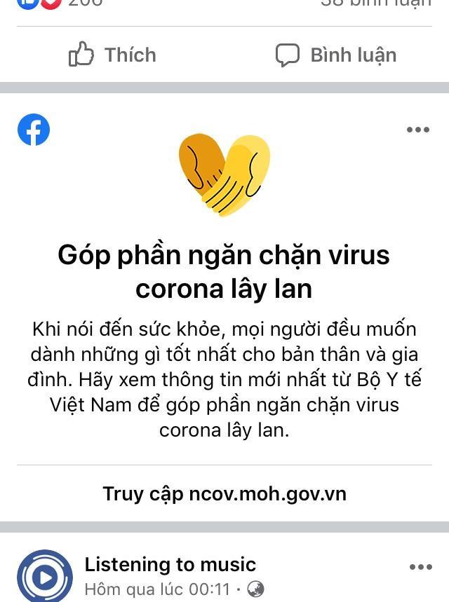 Facebookcập nhật tính năng mới để đẩy lùi tin giả về virus corona tại Việt Nam. (Ảnh: Facebook)