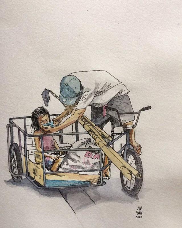 Một cư dân mạng đã vẽ lại bức ảnh người đàn ông Philippines nhường khẩu trang cho con.