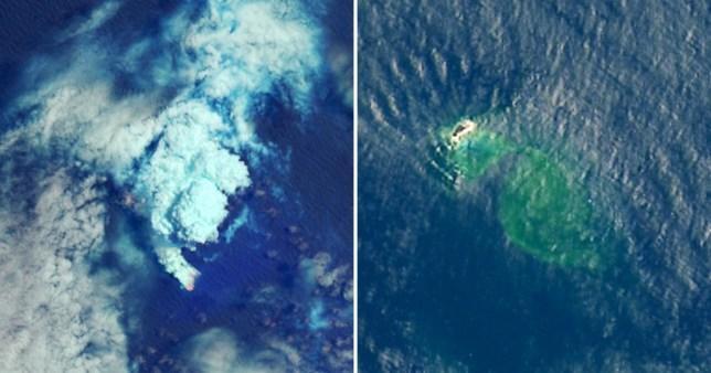 Hòn đảo mới được tạo thành nhìn qua ảnh vệ tinh. Ảnh: NASA/EPA